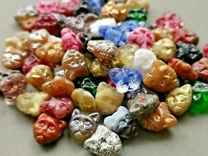 Czech glass cat head animal kitty pressed beads mix 11 mm pack of 10