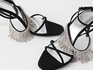 BNIB Zara Blue Collection Leather Rhinestone Fringe Heels Shoes  UK 3 £96