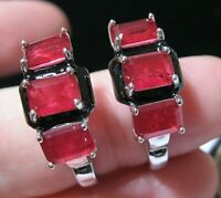 Vintage Style Art Deco Sterling Silver Lab Ruby Lever Back Drop EARRINGS