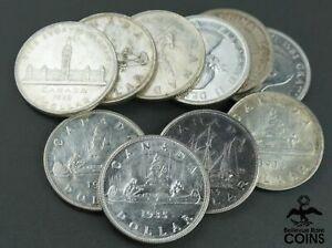 Lot of 10: 1935-1954 Canada $1 Silver Coins, George VI + Elizabeth II ASW 6oz