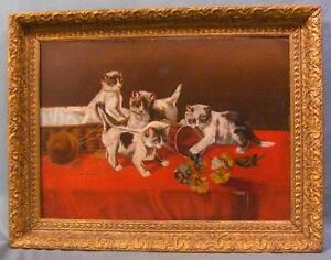 Antique O/B Painting of Playful Kittens Frolicking NICE