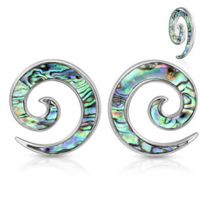 PAIR Abalone Shell Inlaid Steel Spiral Tapers Expanders Tunnels Plugs Gauges