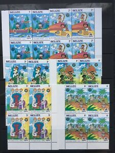 DISNEY STAMPS - BELIZE- ITS A SMALL WORLD - UNMOUNTED MINT BLOCKS OF 4- (766)