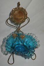 ANTIQUE BRASS & GLASS FRENCH WATCH/LOCKET HOLDER & DISH for JEWELRY CA1880's