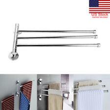 3 Rack Towel Bar Rotating Bathroom Kitchen Wall Mount Towel Storage Rack Holder