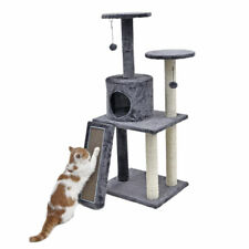 116CM Cat Scratcher Post Tree Ramp Scratcher Board Gym Condo Cat Play House Toy