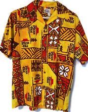 Vintage PIZZA HUT Uniform Evelyn Margolis Hawaiian Barkcloth Shirt Medium