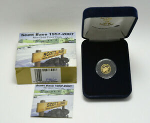 2007 Scott Base 1957-2007 1/25th Ounce Mini Gold Proof New Zealand Coin