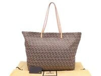 Auth FENDI Zucchino Tote Shoulder Bag Beige/Brown Canvas/Leather - e47052e
