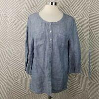Spiegel 100% Linen Button Down Shirt size 16 Chambray Jean top Denim lagenlook