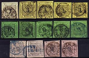 GERMAN STATES: WURTTEMBERG 1851-2 USED SELECTION, 14 STAMPS