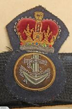 P.O. PETTY OFFICER Queen's Crown Post-WW2 Era ROYAL NAVY Bullion Wire CAP BADGE