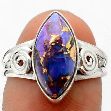 Copper Purple Turquoise Arizona 925 Sterling Silver Ring s.8 Jewelry 6560