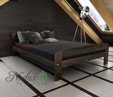 Solid Pine 5ft King Size Bed Frame & Slats Wooden Furniture - F2 Walnut Frame Only