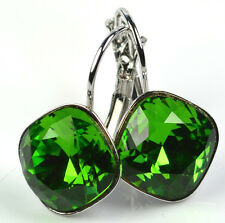 Silver Plated Earrings made with Swarovski Crystals SHEENA *FERN GREEN* 12mm