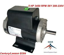 "5 HP Single Phase SPL 3450 RPM 56 Frame 230V 22Amp 7/8"" Shaft NEMA Motor"