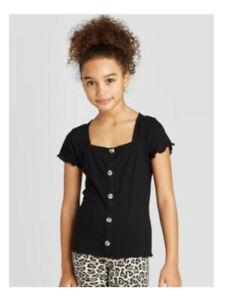 Art Class Girls Lettuce Edge Square Neck Short Sleeve Top, Ebony