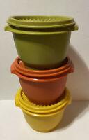 Tupperware Set of 3 Vintage Servalier Bowls 886 Yellow Green Orange With Lids