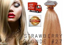 """20"""" European TAPE Remy Human Hair Extensions Wefts 62GM 20pcs Straw Blonde # 27"""
