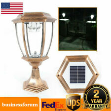Solar Power LED Pillar Light Outdoor Lantern Garden Landscape Lamp Waterproof US