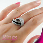 18K WGP Fashion Unique Ring Use Swarovski Crystal RP9554 Free Gift Pouch