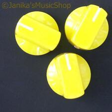3 Perillas interruptor Potenciómetro Amarillo Amplificador De Guitarra etc. Estufa Olla Tornillo de perilla +