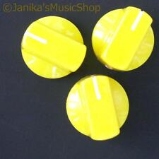 3 yellow potentiometer switch knobs guitar  amplifier etc stove pot knob + screw