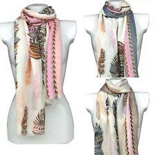 Feather Design Ladies Fashion Large Size Scarf Shawl Wrap Sarong