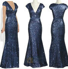 Navy Blue Sequins V Formal Evening Dress Party Party Gown Bridemaid Dress OSEPE
