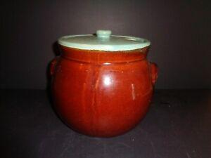 Studio Pottery Double Handled Crock Lid Vintage Stoneware Bean Pot Turquoise