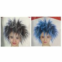 Rockstar Spiky Punk Wig Short Rock Party Costume Hair Cosplay Dress Women's 80s