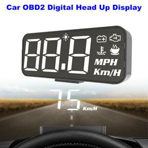 HUD Car OBD2 Head Up Display Digital Speedometer Alarm Water Temp Volt KM/H MPH