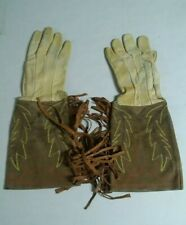 Vintage Leather Gauntlet Gloves Fringe Cowboy Motorcycle Embrodered Stitched