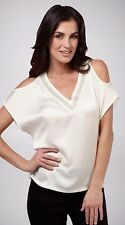 NEW Size 8-10 UCW White Cold Shoulder V Neck BEADED Summer Top Tunic RRP $89