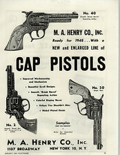 1948 PAPER AD Henry Co Toy Cowboy Gun Holster Cap Pistol Ranger Trigger Champion