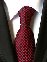 Fashion Men's Red polka dot JACQUARD WOVEN Neck Ties Wedding Party gift