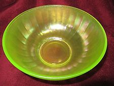 """Antique Yellow / Green Vaseline Iridescent Stretch Glass Ribbed Bowl 8 3/8"""" D"""
