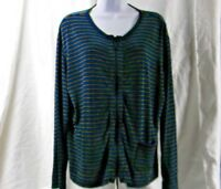 Chicos Travelers Full Zip Striped Stretch Shirt Top Women's Size 2 (14)