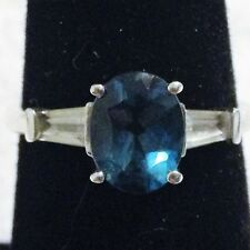 Sterling Silver Aquamarine Ring Size 7.75  2.6 Grams.
