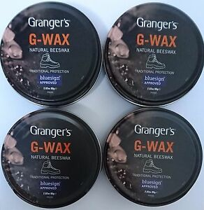 4x Grangers/Fabsil G-Wax Natural Beeswax Leather Boot/Shoe Polish Dubbin Tin