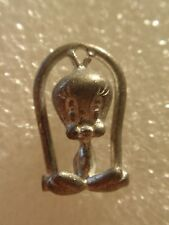VINTAGE WARNER BROTHERS TWEETY BIRD ON PERCH CHARM OR PENDANT!