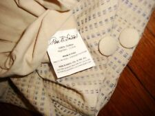 TWIN Cotton Brown Tan  DUVET & Sham w/ Woven BLUE Checkered PARK B SMITH