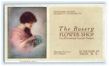 Rosery Flower Shop Troy New York Ny Advertising Ink Blotter Unused Rensselaer Co