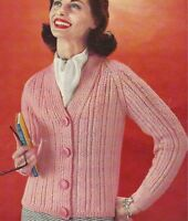"""Lady's Vintage Jacket V-neck Knitting Pattern DK 34-40"""" 1043"""