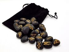 Rune Set Black Agate Crystal Gemstone Divination Includes With Plush Pouch