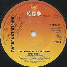 "Barbra Streisand ‎– Love Theme From ""A Star Is Born"" (Evergreen)7"" NM"