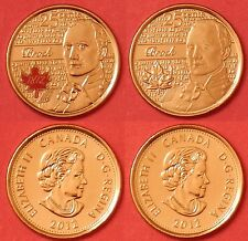 Brilliant Uncirculated 2012 Canada Brock Color & Plain 25 Cents From Mint's Roll