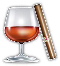 Cognac And Cigar Car Bumper Sticker Decal 5'' x 5''