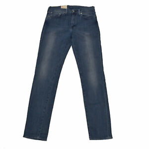 Levis 511 Mens Jeans Dark Blue Stonewash 32x32 Slim Fit Straight Leg Damaged