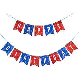 Happy Birthday Bunting Banner Superhero Birthday Party Decoration Spiderman